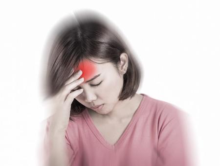 hangover: Women having headache, migraine, hangover, insomnia.
