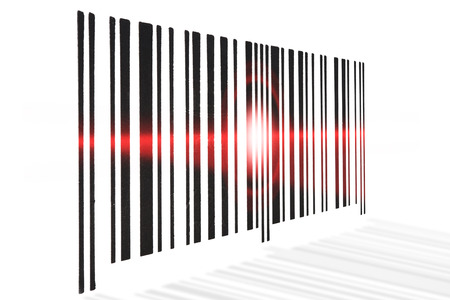 barcode scanning: Barcode scanning red beam on white background.