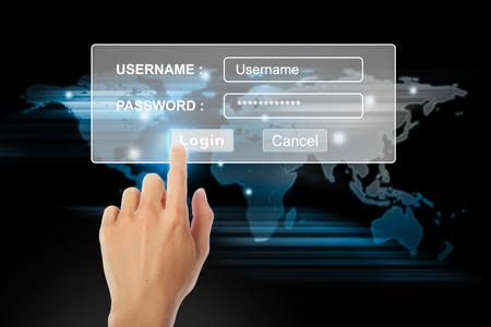 username: Hand touching screen login username.