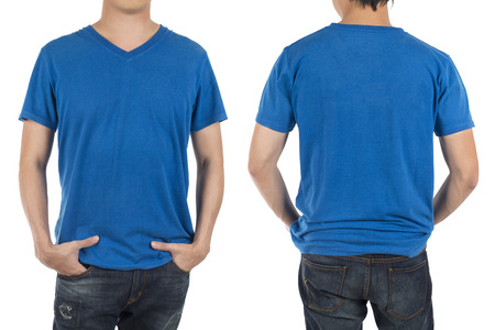 tshirt: Close up of man in front and back blue shirt on white background. Stock Photo