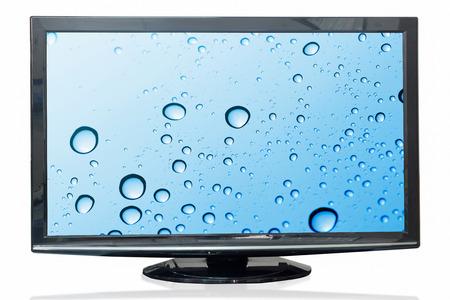 windshield: Television monitor windshield isolated on white background. Stock Photo