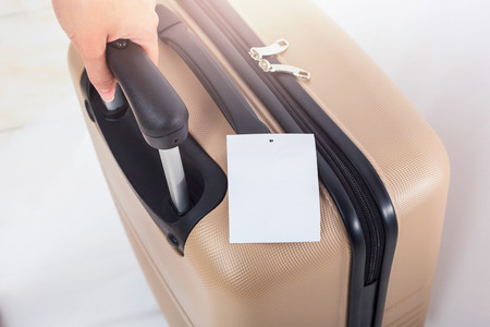 luggage tag: Blank of luggage tag on suitcase, Travel concept.