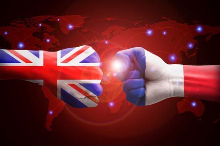 competitors: England and France against competitors of world business. Stock Photo