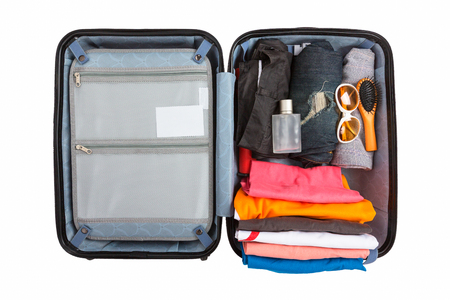 Luggage travel trip bag isolated white background.