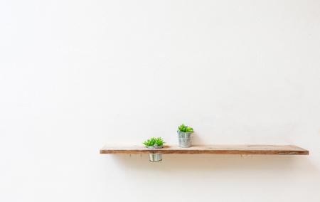 緑の植物で白い壁に木製の棚。