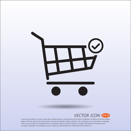 correct: Vector Shopping basket correct icon.