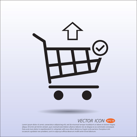 correct: Vector Shopping basket icon correct move out.