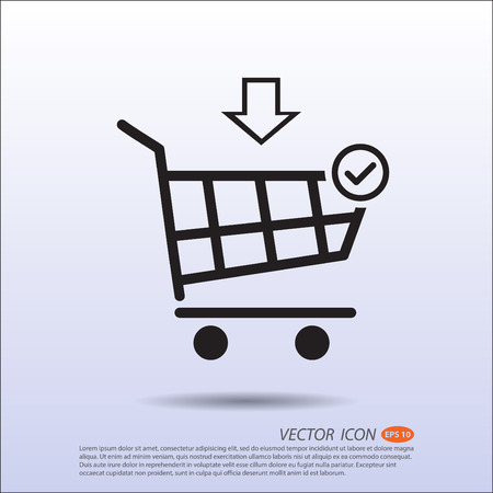 move in: Vector Shopping basket correct move in icon.