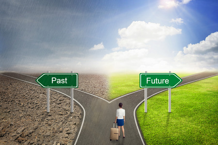 Businessman concept, Past or Future road to the correct way.