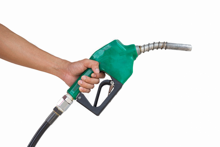 Man holding petrol pump isolated on white background. Reklamní fotografie
