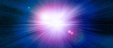 宇宙の銀河のスターゲートの青い爆発。