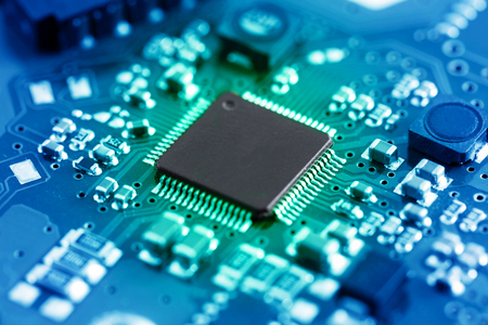 Close-up electronic circuit board. technology style concept. Banco de Imagens