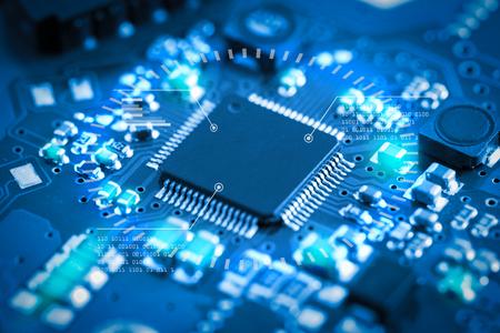 Primer plano de la placa de circuito electrónico. concepto de estilo de tecnología.