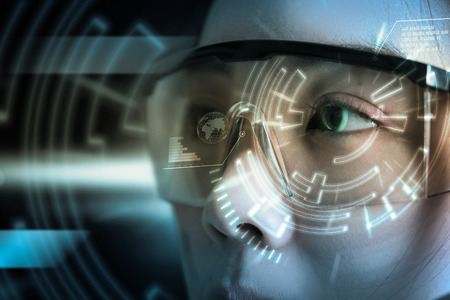 retina display: View of a Futuristic eye technology user interface with scan. Stock Photo