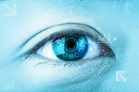 Close-up blue eye. High technology the futuristic. : eye cataract