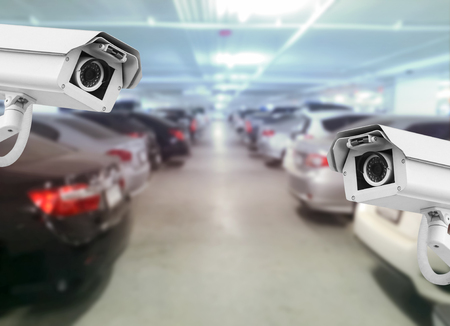 CCTV camera installed on the parking to protection security.