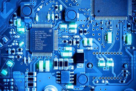 クローズ アップ電子回路基板。技術スタイルのコンセプトです。 写真素材