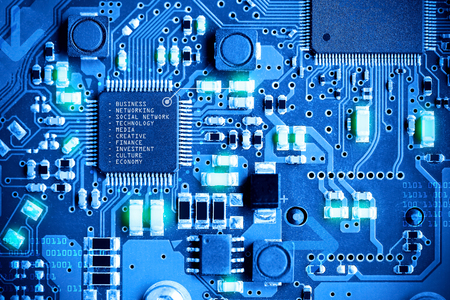 Close-up electronic circuit board. technology style concept. Archivio Fotografico