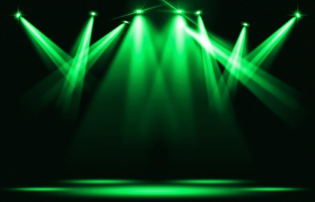 Stage lights. Several projectors in the dark. --- spotlight strike through the darkness