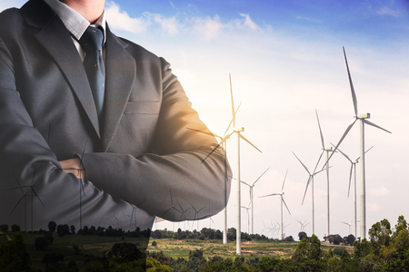 Eco power, Double exposure of Engineer success at wind turbine.