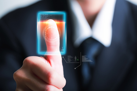 Businessman scan fingerprint identity and approval. Security and Password concept