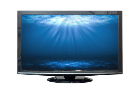 Black HD monitor deep sea isolated on white background.