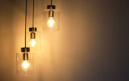 Decorative antique style light bulbs on wooden wall background.