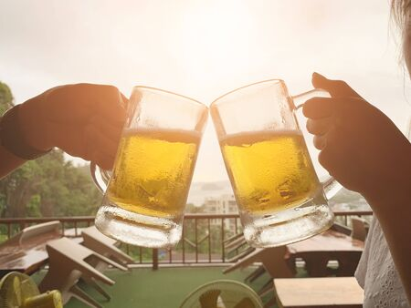 Buddy of happy friends drinking beer party. Friendship and celebration concept