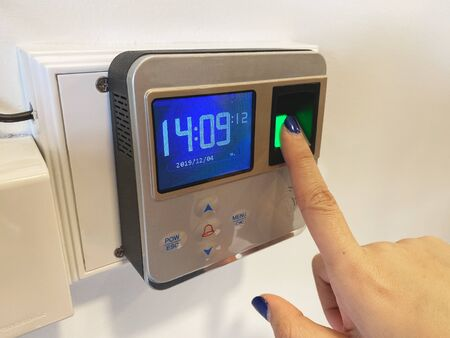 Finger print scan for unlock door security system. Record working time