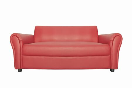 Red luxury sofa for modern living room isolated white background. with clipping path Stockfoto