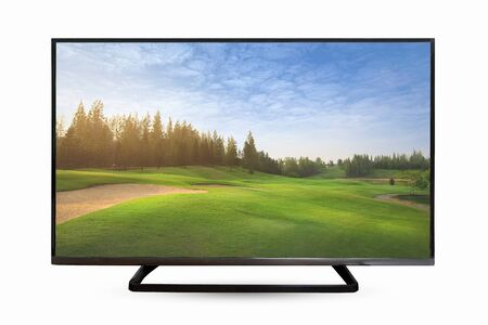 Television monitor in nature view isolated on white background. with clipping path