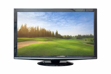 Television monitor in nature isolated on white background. Clipping path Zdjęcie Seryjne