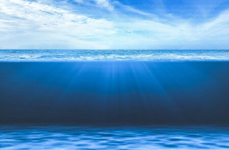 Blue Under Water waves and deep sea.