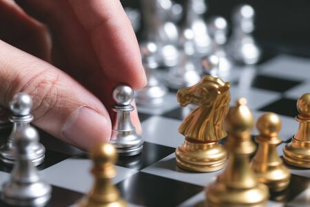 Plan movine pawn strategy of successful business competition leader concept.