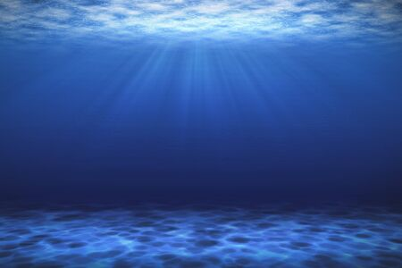 Sunbeam blue deep sea or ocean underwater background.