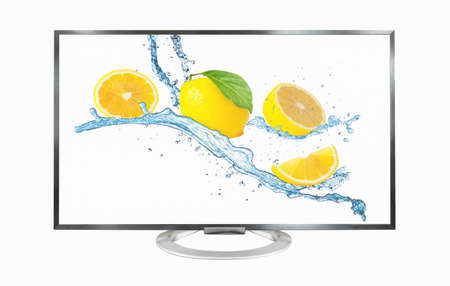 Television monitor isolated on white background. lemon on screen