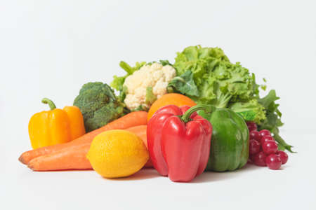 Composition with vegetables isolated on white background. Stockfoto