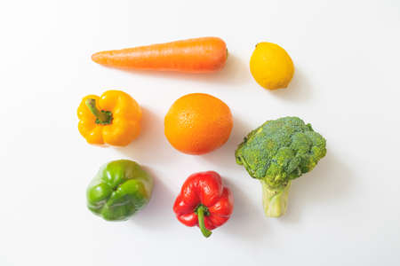 Various vegetables and fruits isolated on white background. top view. Concept of healthy Stockfoto