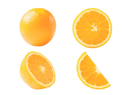 Set of fresh whole and cut orange and slices isolated on white background.