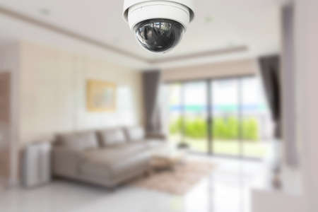 Security camera or cctv camera on ceiling. Home Video System.
