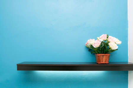 Empty white shop shelf, retail shelf with flower pot on blue background. Stockfoto