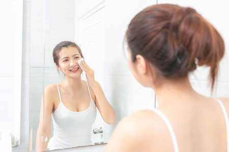 Beautiful young asian woman with Clean fresh. Cosmetology, Beauty care and Spa. Stockfoto
