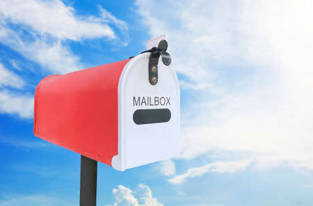 Red mail box outdoor on sky. Stockfoto