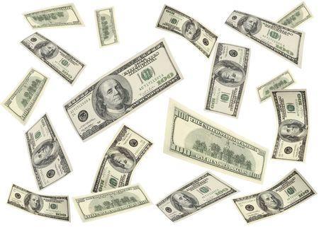 Flying american 100 dollar bills  Stock Photo
