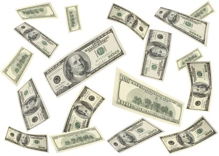 Flying american 100 dollar bills Stock Photo - 4444311