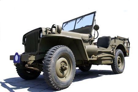 car hoist: US army jeep Stock Photo