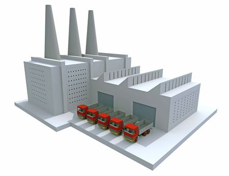 factory building: 3D render of a generic factory