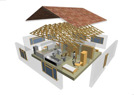 home improvements: 3D rendering of small house with furniture