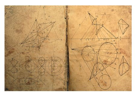 Photocomposition of handwritten mathematical geometry drawings photo