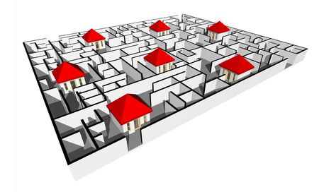 3D render of Labyrinth with house Stock Photo - 5826843